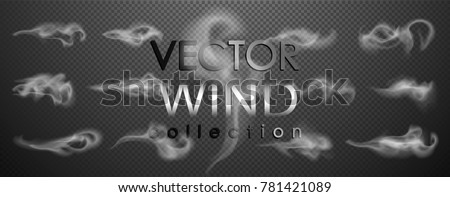 Smoke, wind vector collection, isolated, transparent background. Set of realistic white smoke steam, waves from coffee,tea,cigarettes, hot food,... Fog and mist effect.