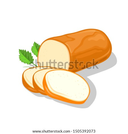 Smoked round cheese cutted to slices garnish with greenery. Ricotta, rauchkase, bavarian. Appetizing farm, dairy product. Vector cartoon realistic illustration isolated on white for cookbook, packing.