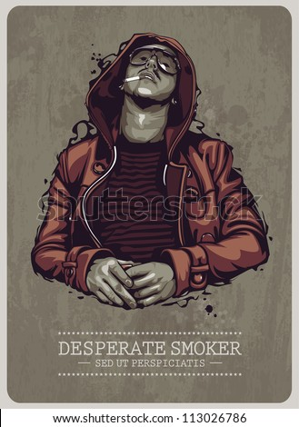 Smoker grunge image. Vector illustration.