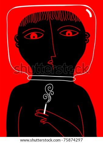 smoker with a glass helmet an cigarette