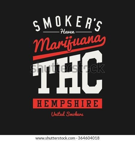 Smokers Haven Varsity College Marijuana Weed Ganja Print Design Vector