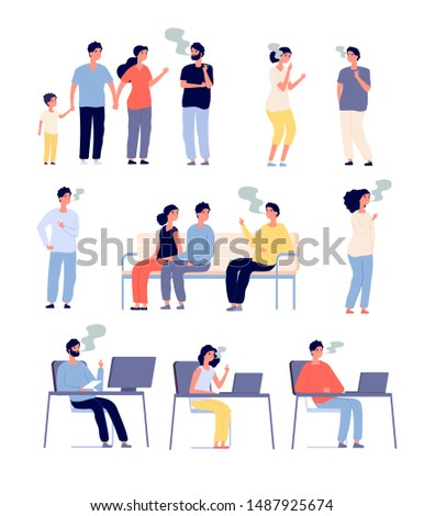 Smokers. People smoke cigarettes in public places. Passive smoking, bad habits and drug addiction. Isolated vector characters