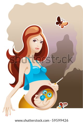Smoking and Pregnancy (vector)