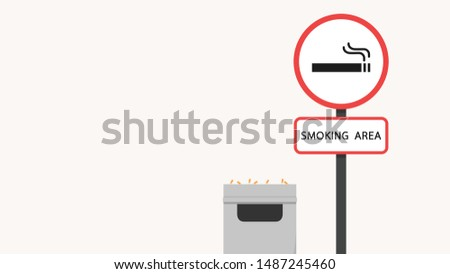 smoking area. smoking area wallpaper. poster design. free space for text. copy space. smoking area illustration. smoking area sign.