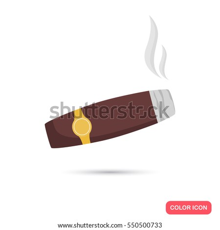 Smoking cigar color flat icon
