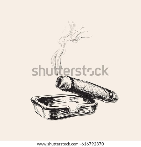 Smoking Cigar With Ashtray