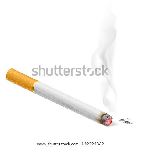Smoking cigarette.  Illustration on white background for design.