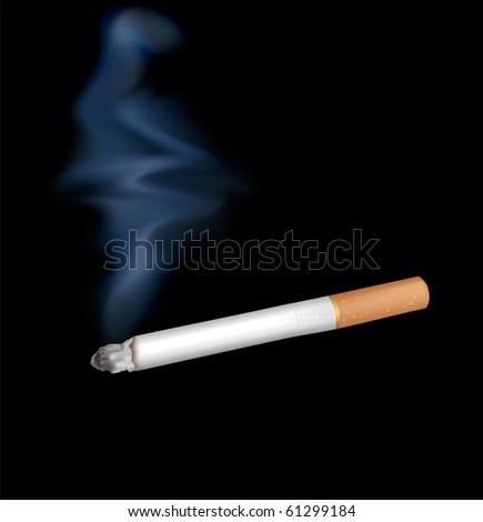 Smoking cigarette. Isolated on black. Closeup.