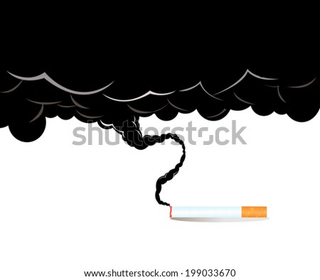 smoking cigarette on the white background