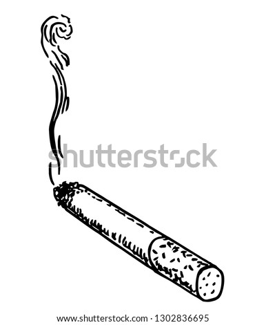 Smoking cigarette. Vector illustration in sketch style. Illustration of cigarette in vintage engraved style.