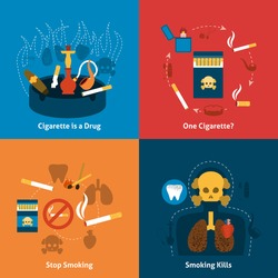 Smoking design concept with cigarettes grugs flat icons set isolated vector illustration