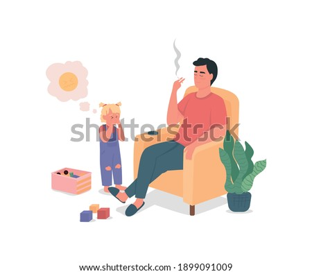 Smoking father with sad child flat color vector detailed characters. Bad habits, drug addiction. Kid neglect. Unhealthy lifestyle isolated cartoon illustration for web graphic design and animation Stock photo ©