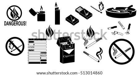 smoking fire black icons set