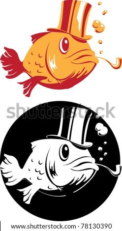 smoking fish in top hat vector