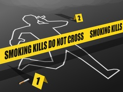 Smoking Kills-Do not Cross. Concept showing Crime Scene with a dead person's Chalk Outline in a smoking pose. Evidence of Ash & half burnt cigarette lie on the ground with Evidence cards next to them.