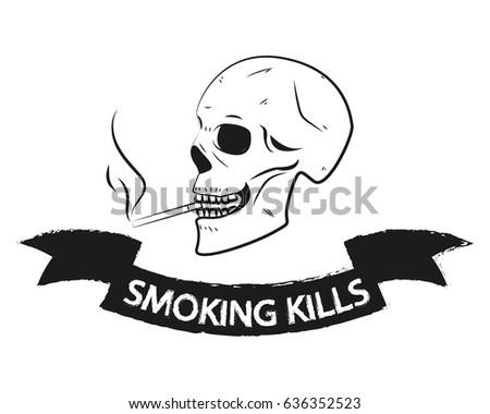 smoking kills skull warning
