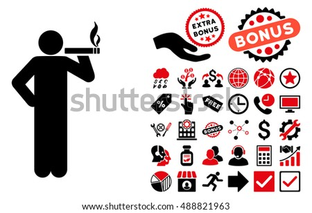 smoking man pictograph with