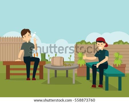 smoking people at garden flat