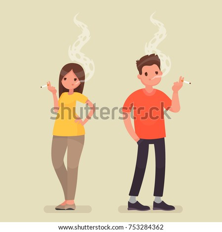 smoking people man and woman