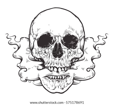 Smoking Skull Art.Tattoo style vector illustration of skull with smoke coming from his mouth. Black line art isolated on white.