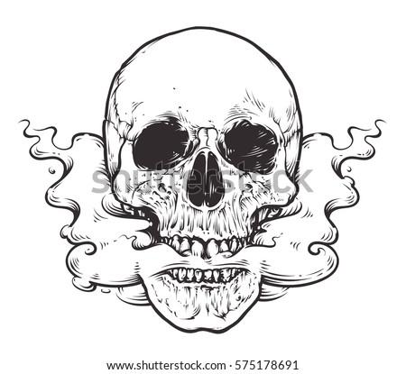 smoking skull arttattoo style