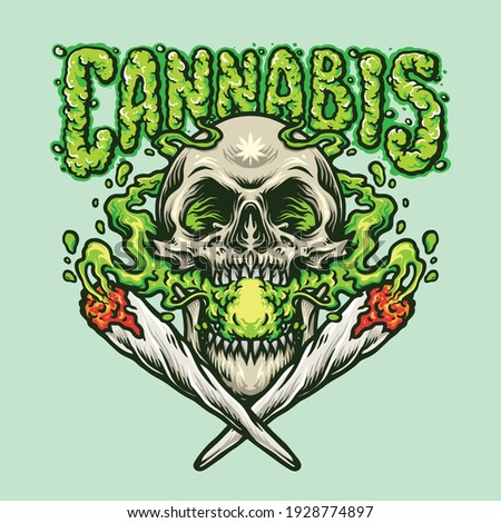 Smoking Skull Cannabis Joint illustrations for your work Logo, mascot merchandise t-shirt, stickers and Label designs, poster, greeting cards advertising business company or brands.  Сток-фото ©