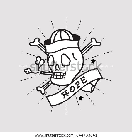 smoking skull  sailor old