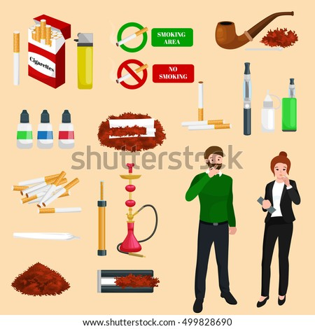 smoking tobacco products icons
