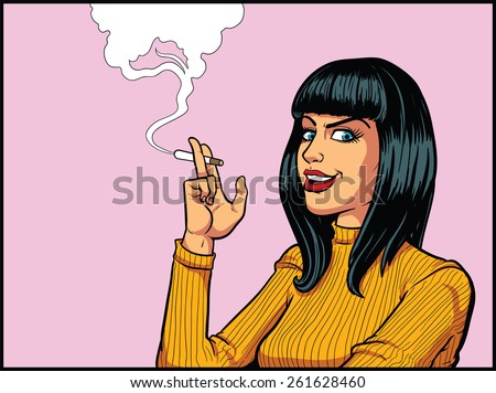 smoking woman in retro pop art