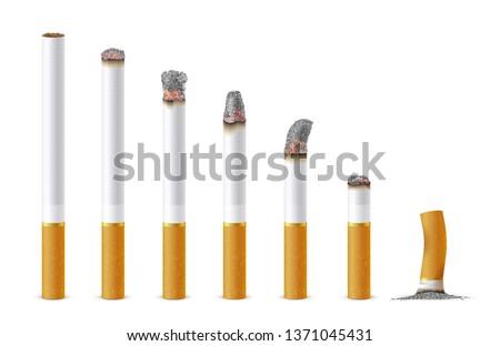 smoldering cigarette in a line