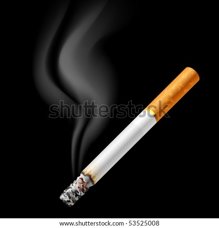 Smoldering cigarette. Vector.