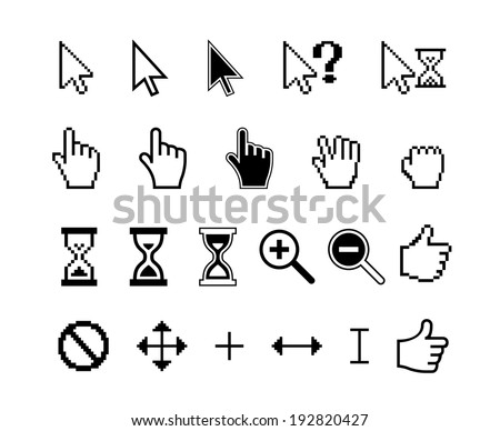 smooth and pixel vector cursors icons: finger hand thumb up and magnifier