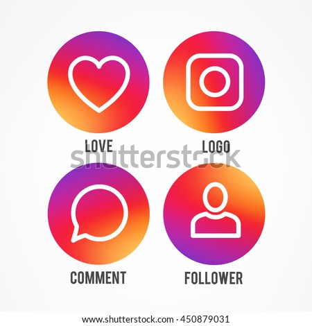 Smooth color gradient icon template set inspried by instagram new logo. Vector illustration for your social media app design project and other.