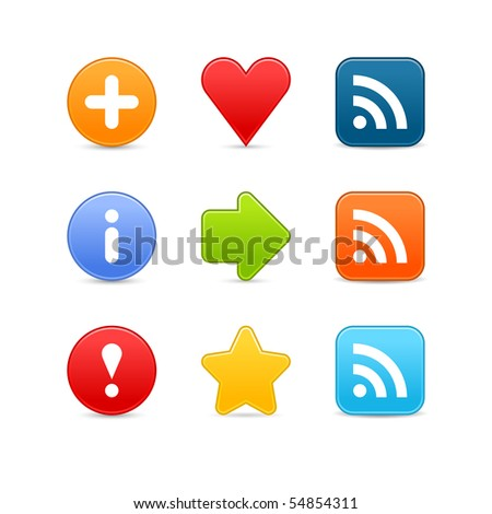 Smooth color set web 2.0 internet button with shadow on white background - stock vector