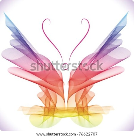 Smooth colorful abstract butterfly over white, vector eps10 - stock vector