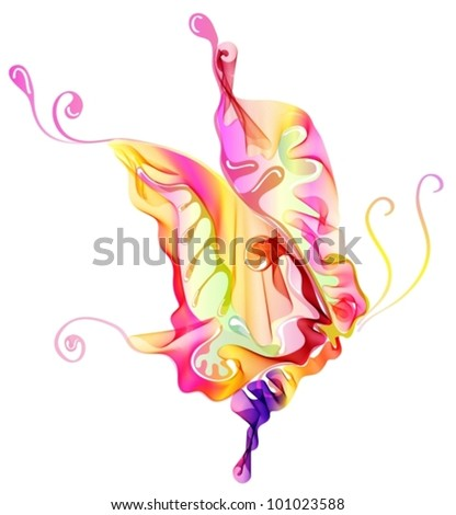 Smooth colorful abstract butterfly over white, vector illustration
