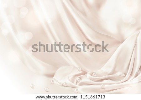 Smooth drapery with pearls background in 3d illustration, glitter effect