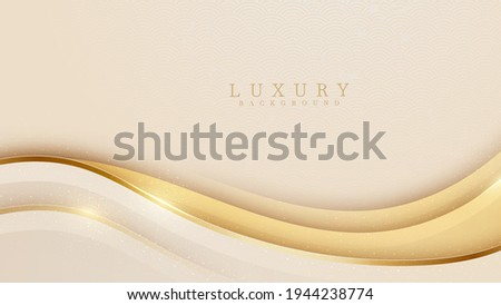 Smooth golden wave on cream shade color background. Luxury paper cut style 3d romantic concept. Vector illustration for design.