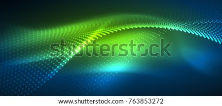 Smooth smoke particle wave, big data techno background with glowing dots, hi-tech concept stock photo