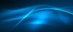 Smooth smoke particle wave, big data techno background with glowing dots, hi-tech concept, blue color