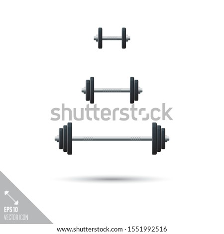 Smooth style set of weightlifting barbells and dumbbells icons. Sports equipment vector illustration.