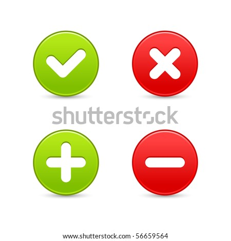 Smooth web 2.0 buttons of validation icons with shadow on white background