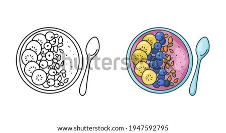 Smoothie bowl doodle icon. Linear and color version. Black simple illustration of plate with fruit puree and spoon. Contour isolated vector pictogram on white background Сток-фото ©