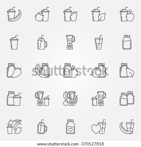 Smoothie icons set - vector thin line smoothie jar or glass symbols. Fresh fruits juices signs. Blender pictograms