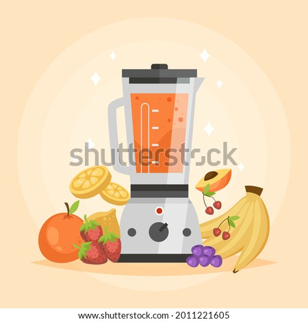 Smoothie in blender or mixer. Shaking, mixing detox healthy fruit juice smoothies. Green veg nutrition. Vegetables mix. Kitchen electric shaker machine. Food processor, juicer. Vector illustration.