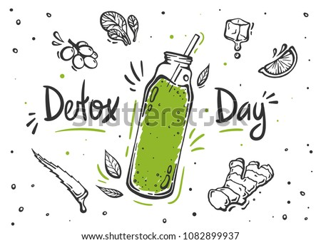 Smoothie or Detox cocktail day poster in doodle style. Set of hand drawn ingredients for smoothie or detox drink in the bottle.