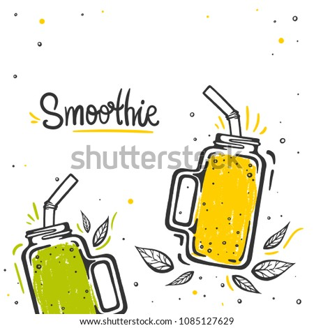 Smoothie or Detox in the jar in sketch style with typography