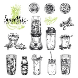 Smoothie vector set. Healthy foods illustrations in sketch style. Hand drawn design elements.