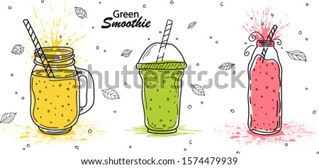 Smoothies or detox cocktail day poster in doodle style. Set of hand drawn ingredients for a cocktail or detox drink in a mason cup or jar. Healthly food. Vector illustration Great for poster, banner.