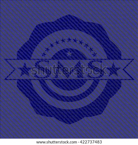 SMS badge with denim background